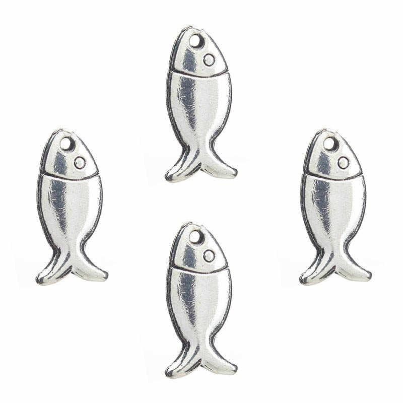 20 ピース/ロット 8*18 ミリメートルチャーム合金ジュエリー魚形のペンダントシルバーイヤリングネックレスブレスレットペンダントジュエリーアクセサリーペンダント