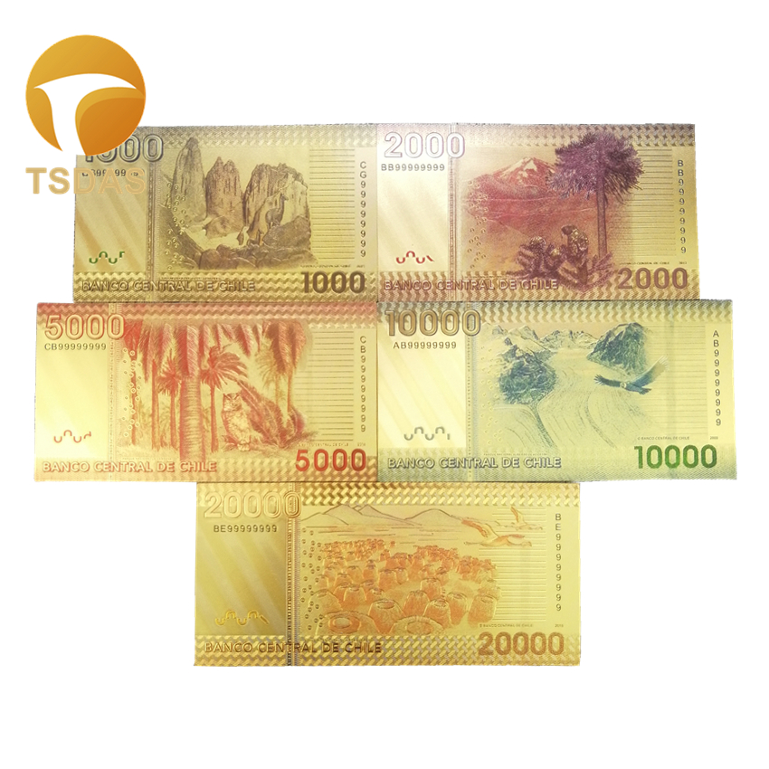 New Chile Gold Banknote Set 5pcs Colored 1000 20000 Pesos Gold Note in Gold Banknotes from Home Garden