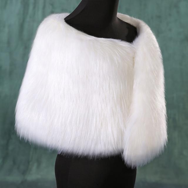 2016 Новый Белый Свадебные Искусственного Меха Обруч Шали Мыс Подражать перо Свадебные Пальто для Женщин Плюс размер Теплая Зима Люкс Шаль