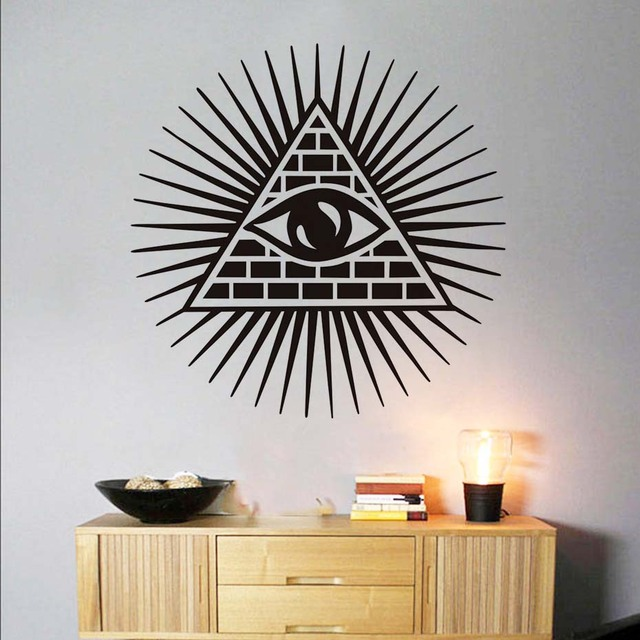 All seeing eye wall sticker vinyl decal removable creative art murals diy wall decals home decor