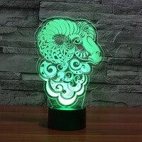 Amerikanischen Schafe Touch Acryl 3d Nachtlicht Bunte Geschenk Atmosphäre Tisch Lampe Remote Touch schalter Schreibtisch lampe