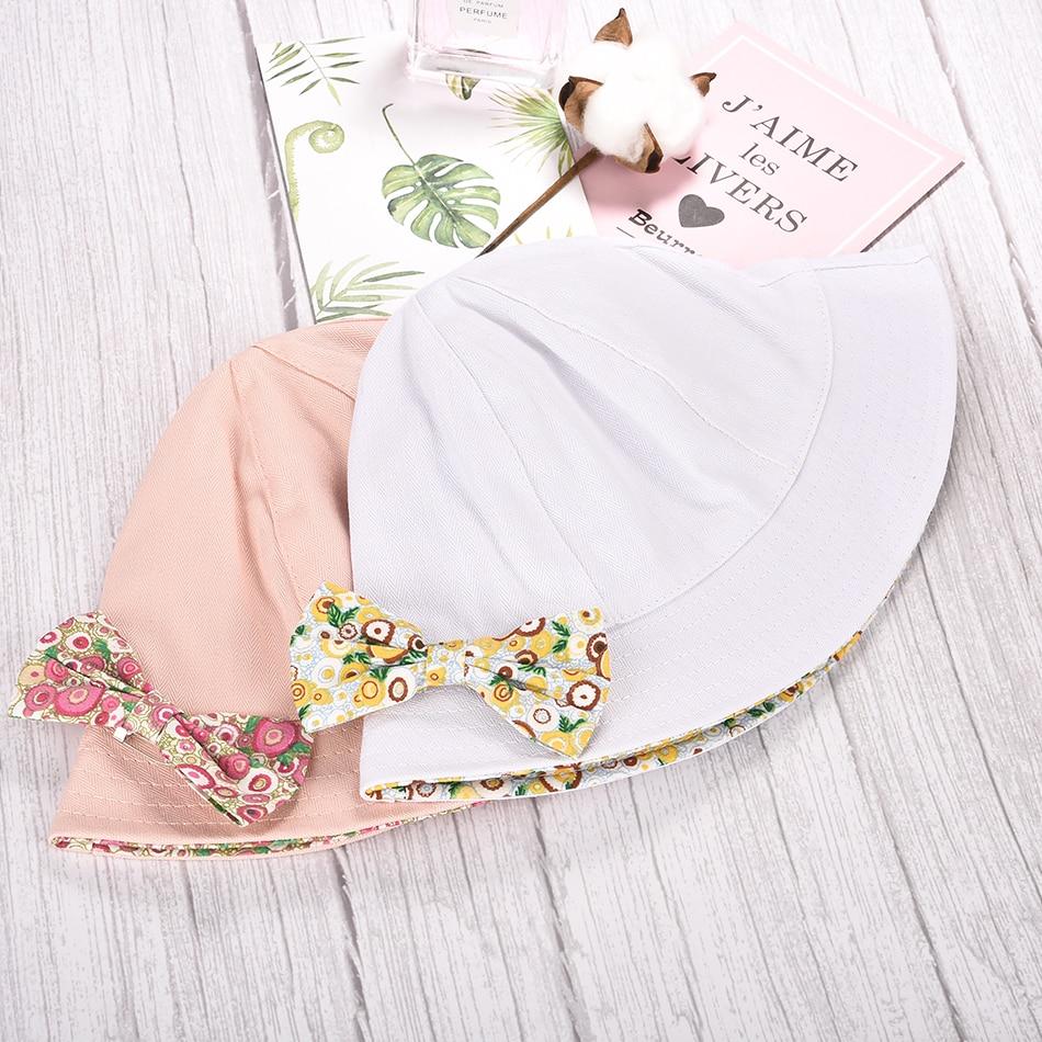 Soft Cotton Bowknot Bucket Princess 3-24 Months Baby Girl Hat Sun Hat Panama Cap