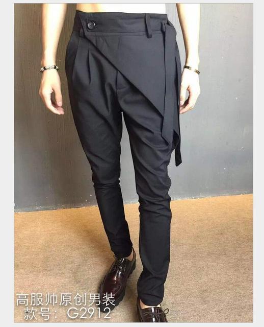 27-44 Nova moda calça casual Homens hairstylist calças saias plus size harem pants calças de personalidade não-mainstream cantor trajes