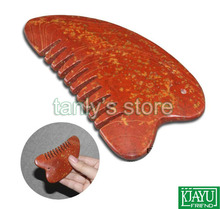 Wholesale and Retail Traditional Acupuncture Massage Tool / Natural red yellow Bian-stone Healing Guasha comb/ healthcare