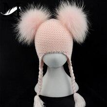 ילדים אמיתי פרווה פום פום כובע תינוק החורף סרוג Earflap כובע בנות בני סרוג כפה זוגי שני אמיתי פרווה פומפונים כובע לילדים