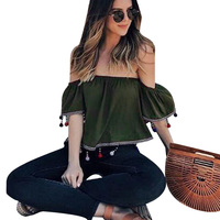 Army Green Blouses Women Slash Neck Solid Sexy Crop Tops Fashion Tassels Balls Patchwork Chiffon Blusas