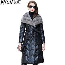AYUNSUE Real Sheepskin Coat Women 2020 Long Winter Genuine Leather Jacket Womens Down Jackets Natural Mink Fur Collar CJX0098B