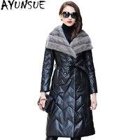 AYUNSUE Real Sheepskin Coat Women 2019 Long Winter Genuine Leather Jacket Womens Down Jackets Natural Mink Fur Collar WYQ1827