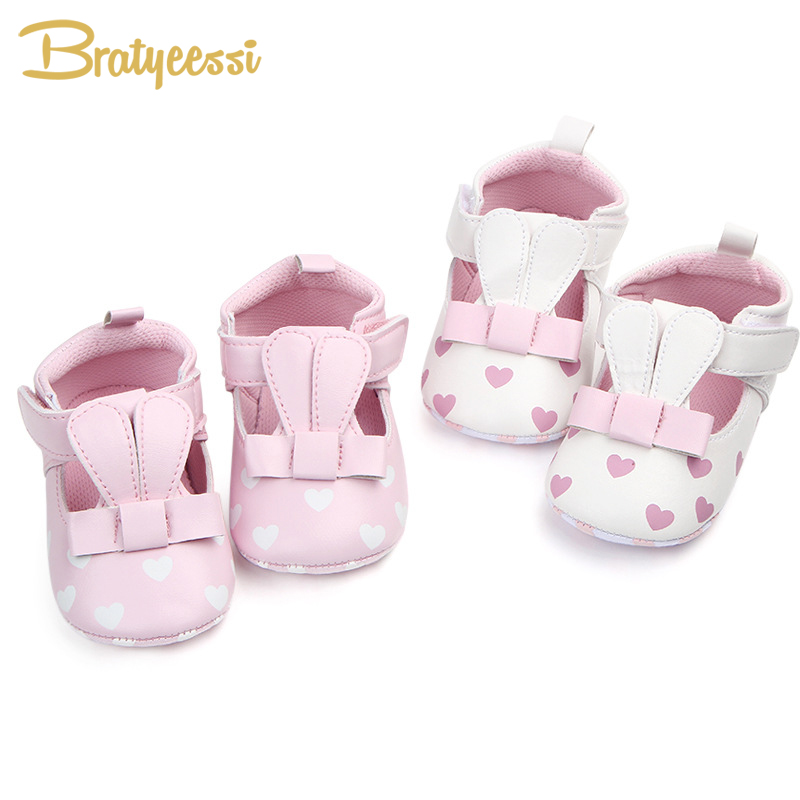 Cute Rabbit Baby Girl Shoes PU Leather Baby Moccasins Non-Slip Heart Infant Shoes for Kids Baby Shoes First Walkers Pink White