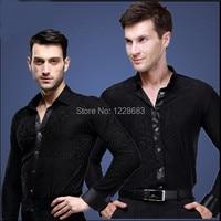 New Plus Size Black Waltz Latin Dance Top Men Latin Dance Shirts Men Ballroom Dance Shirt