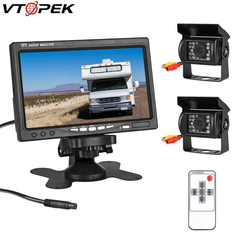 """7 """"TFT LCD اللون HD شاشة رصد لسيارة CCTV عكس الرؤية الخلفية كاميرا احتياطية راصد مسند الرأس للرؤية الليلية الرؤية الخلفية"""