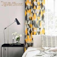 100% القطن الكتان الستائر لغرفة النوم الزخرفية هندسية طباعة الستائر لغرفة المعيشة المطبخ نافذة شرفة الستائر 2 اللون