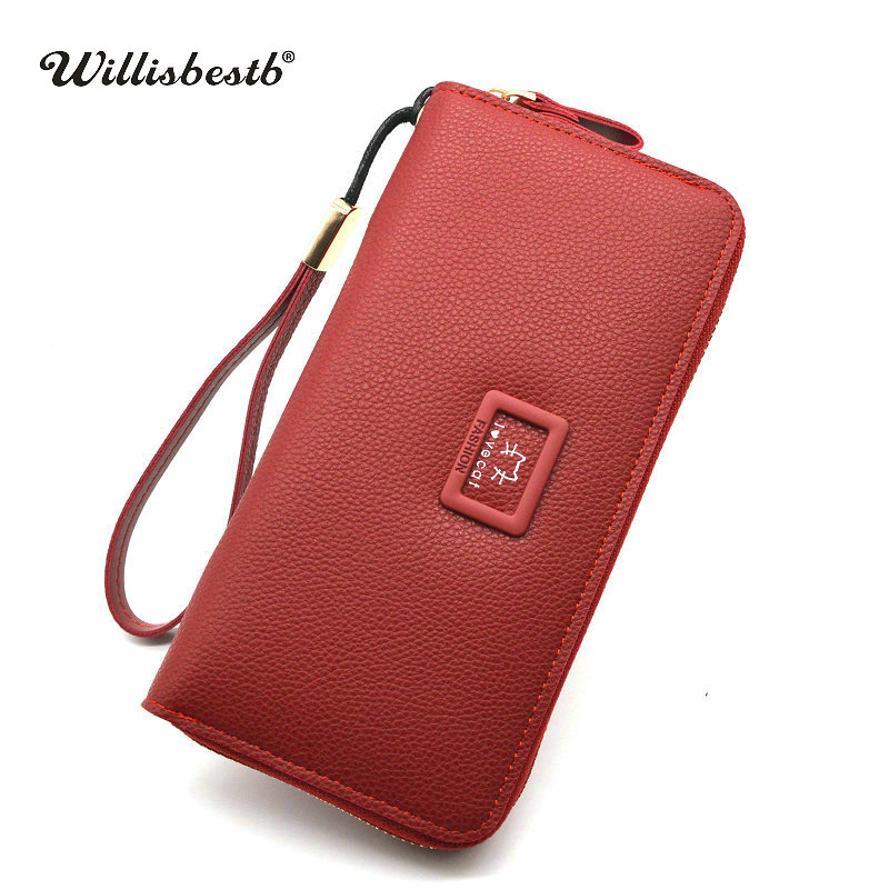 New Women Purses Female Famous Brand Wallets Woman Long Zipper Purse Lady Luxury Wallet Leather Card Holder Portefeuille femme simline fashion genuine leather real cowhide women lady short slim wallet wallets purse card holder zipper coin pocket ladies