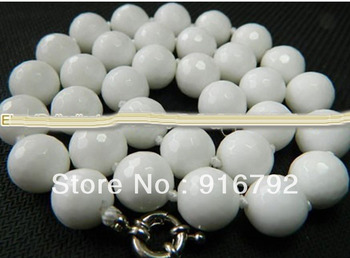 free shipping >>>>>Charming! 10mm White Sea Coral Faceted Round Necklace