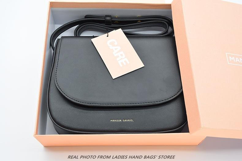 Handbags: Mansur Gavriel brand genuine leather small crossbody bags for women saddle girls messenger bag frauen designer shoulder handbags