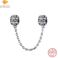 925 Sterling Silver Clip Safety Chain European Charm Beads Fit Pandora Style Bracelet Necklace Pendant DIY