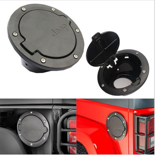 Stainless Steel Black ABS Gas Fuel Tank Cap Door Cover Fit for Jeep Wrangler 2007 2008 2009 2010 2011 2012 2013 Free Shipping