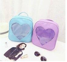 1 piece Candy Transparent Love Heart Shape PU For Womens Girls 6 Colors Harajuku School Backpack Shoulder Bag