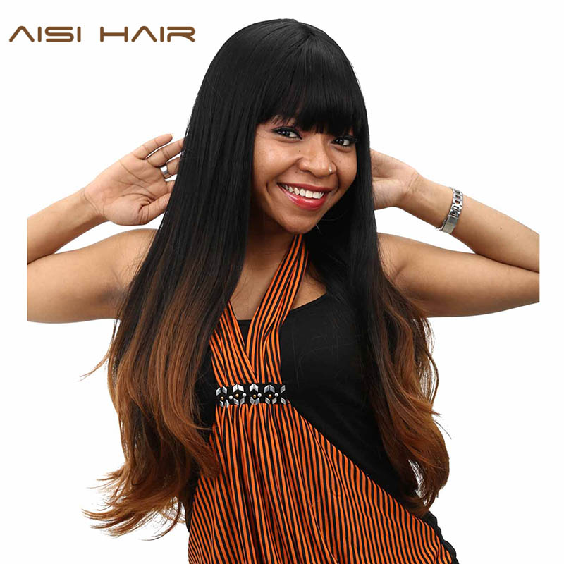 AISI HAIR synthetic Ombre Wigs For Black Women Long Wavy Cosplay Dark Brown Hair With Neat Bangs Hairstyle