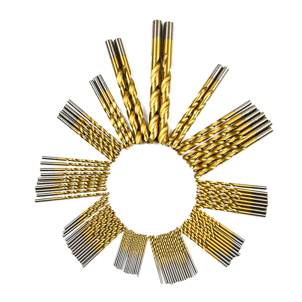 99pcs 4241 HSS High-speed Steel Twist Drill Drilling Tool Kit Saw Set Titanium Coated Drill Woodworking Wood Tool 99pcs high speed steel twist drill bits 1 5mm 10mm tool with case