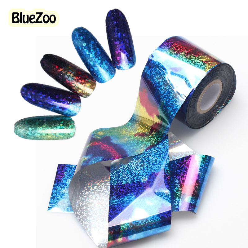 BlueZoo 1 roll 5cm*120m Nail Stickers Transfer Foil Nail Decals Blue Sky Sequin Nail Beauty Stickers Full Cover DIY Decorations bluezoo 1 roll 5cm 120m blue nail stickers transfer foil full cover nail art stickers silver scenery decals nails tools for nail