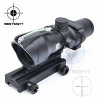 Tactical Trijicon ACOG 4X32 Optical Rifle Scope Real Fiber Optics Green Illuminated Crosshair Hunting Riflescopes