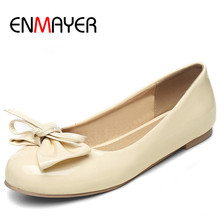 ENMAYER Slip-on Shoes Woman Spring&Antumn Round Toe Solid Plus  Size 34-47 2017 Chaussure Femme Casual Dress Shallow Flats