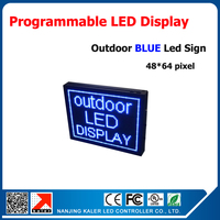 P10 advertising led strip screen outdoor blue color led outdoor sign programmable and scrolling message led display 48*64dots