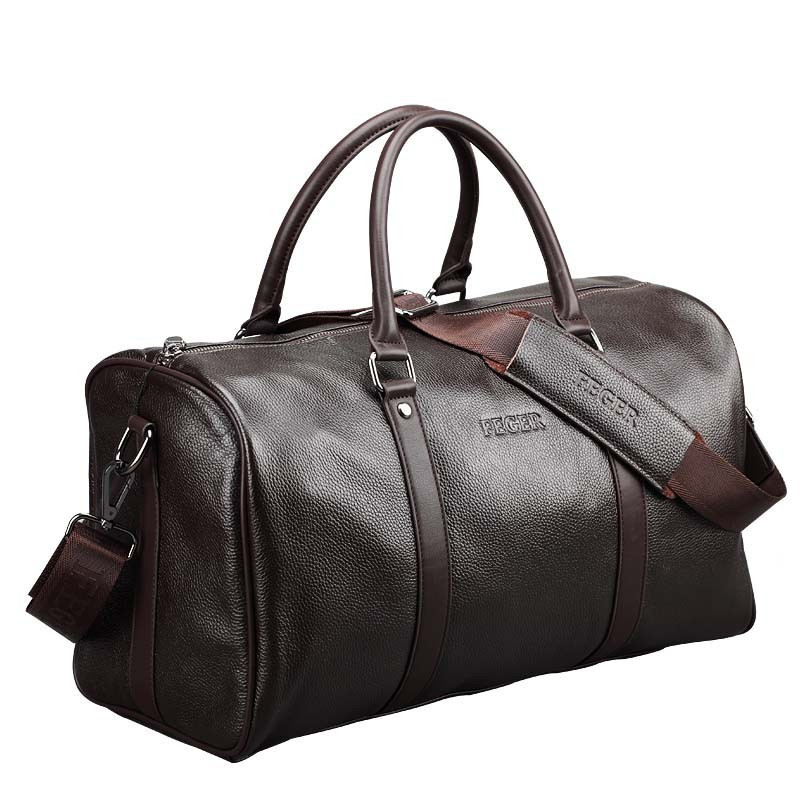Prettyzys Fashion Extra Large Weekend Duffel Bag Big Genuine Leather Business Men's Travel Bag Popular Design Duffle Handbag