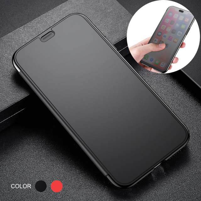 BASEUS Flip Phone Case for iPhone Xs XR XS Max Translucent View Window Touchable Plastic + TPU Hybrid Cover for iPhone XS Max
