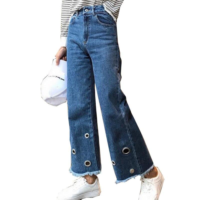 EXOTAO Design Circle Holes Jeans for Women Ankle-Length Denim Pants Female High Waist Pantalones Mujer Wide Leg Vaqueros 2017 black white high waist jeans for women new hole pantalones vaqueros mujer all match solid trousers female plus size denim pants