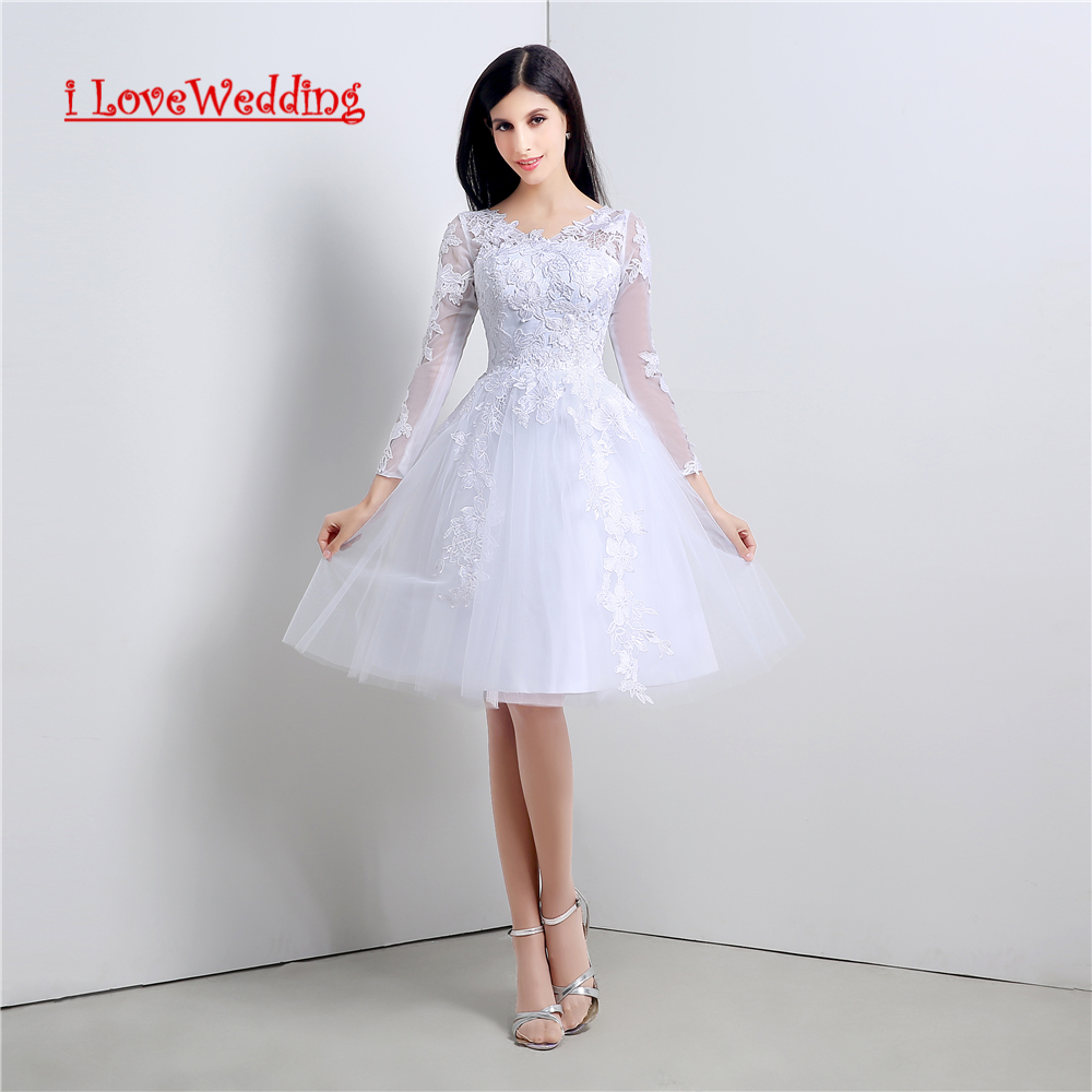 iLoveWedding Stock New A line Short Wedding Dresses Button Back with Appliques Women Formal Bridal Gowns