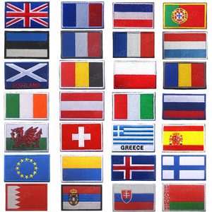Embroidery Patches Belarus Estonia Greece Spain Italy Germany United Kingdom France Poland Netherlands Russia Europe Flag Patch(China)