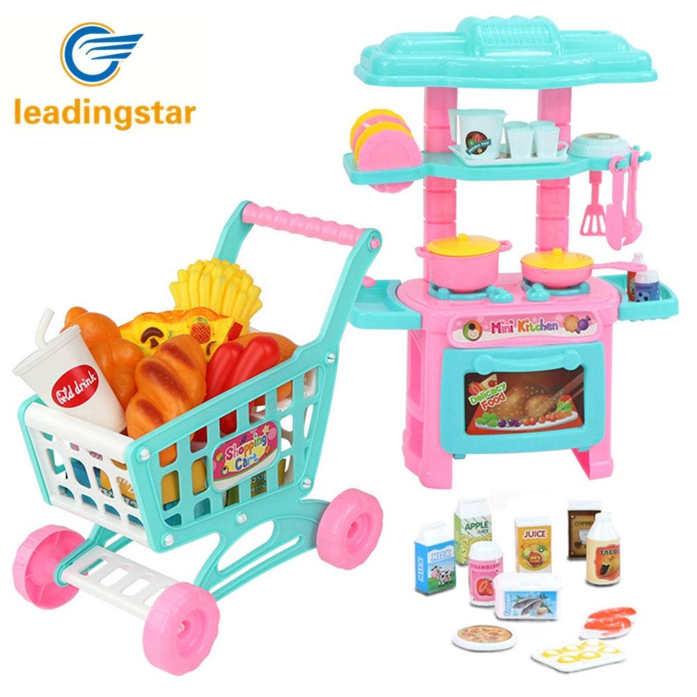 Kitchen Set Online Shopping: LeadingStar Kids Mini Simulation Tableware Shopping Cart
