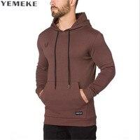 YEMEKE Mężczyźni Bluzy Odzież Marki Nowe siłownie Siłownia Mięśni męska Slim Fit Kurtki Z Kapturem Mężczyzn Hoody Casual Bluza