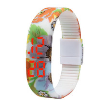 Ladies Sports Watches Ultra Thin LED Cool Sports Silicone Bracelet Watch Fashion Casual Flower Digital Wristwatches Wholesale C6