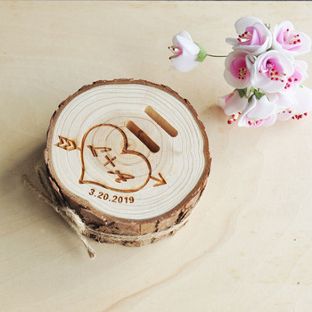 Personalized Rustic Wedding Wood Ring Box Engagement Ring Jewelry Gift 1