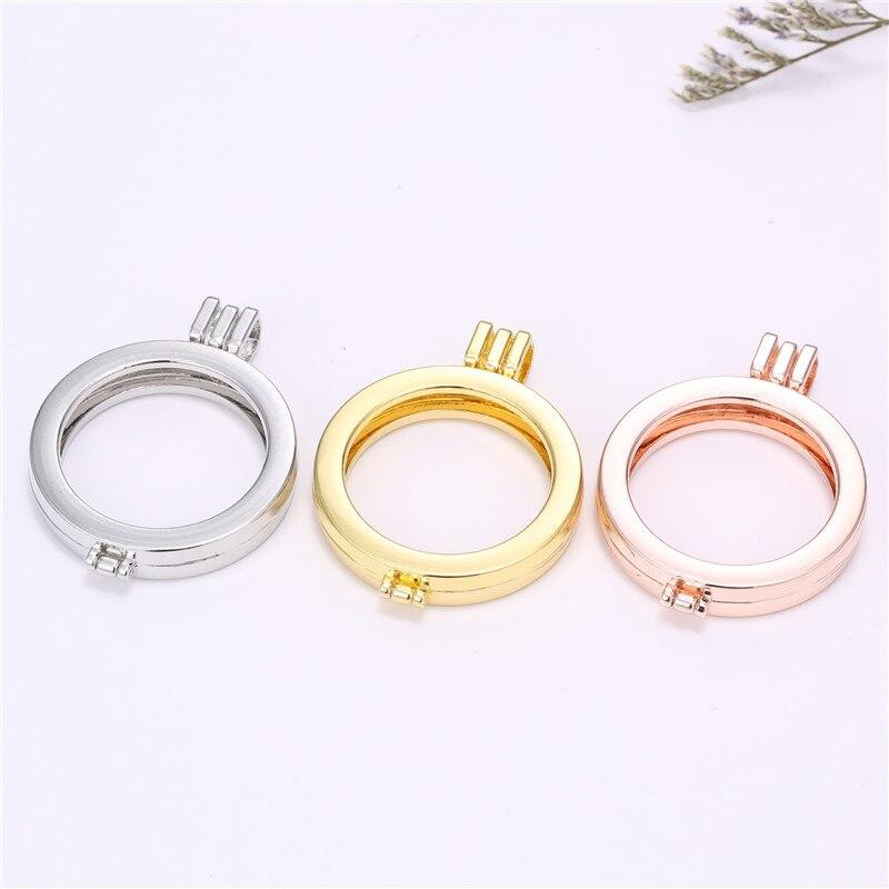 Новое поступление высокое качество 35 мм круглый золотой/розовый цвет золотистый держатель открываться медальон кулон