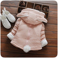 New Arrived Girl Jacket Winter Girls Outerwear Solid Colour Pink Cute Cartoon Rabbit Fashion Kids Winter Jacket For Girls