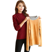 Autumn Thick warm Long sleeve Pullover Sweater Thick Warm flannel lined Sweater Winter women's Velvet high necked Thick sweater