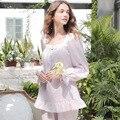 O Envio gratuito de Pijama Define Pijama de Algodão Puro Princesa Do Vintage Feminino Outono Longo-Sleeved Pijama Sleepwear Doce Laço s16047