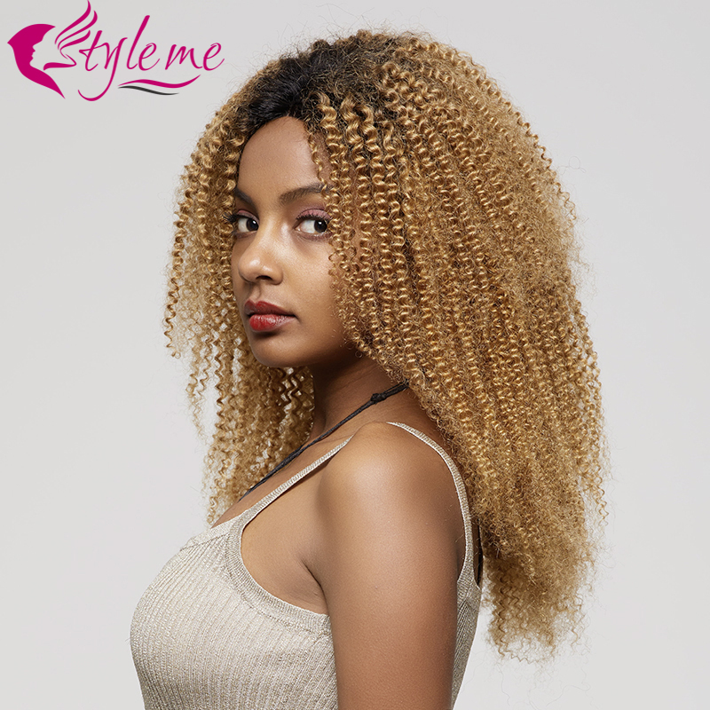 Ombre Blonde Lace Front Wig T1B/27 Kinky Curly Human Hair Wigs Pre Plucked Hair Line Brazilian Remy Short Curly Hair Wig Styleme