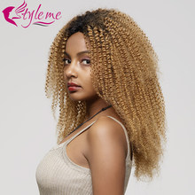 Ombre Blonde Lace Front Wig T1B/27 Kinky Curly Human Hair Wigs Pre Plucked Hair Line Brazilian Remy Short Curly Hair Wig Styleme(China)