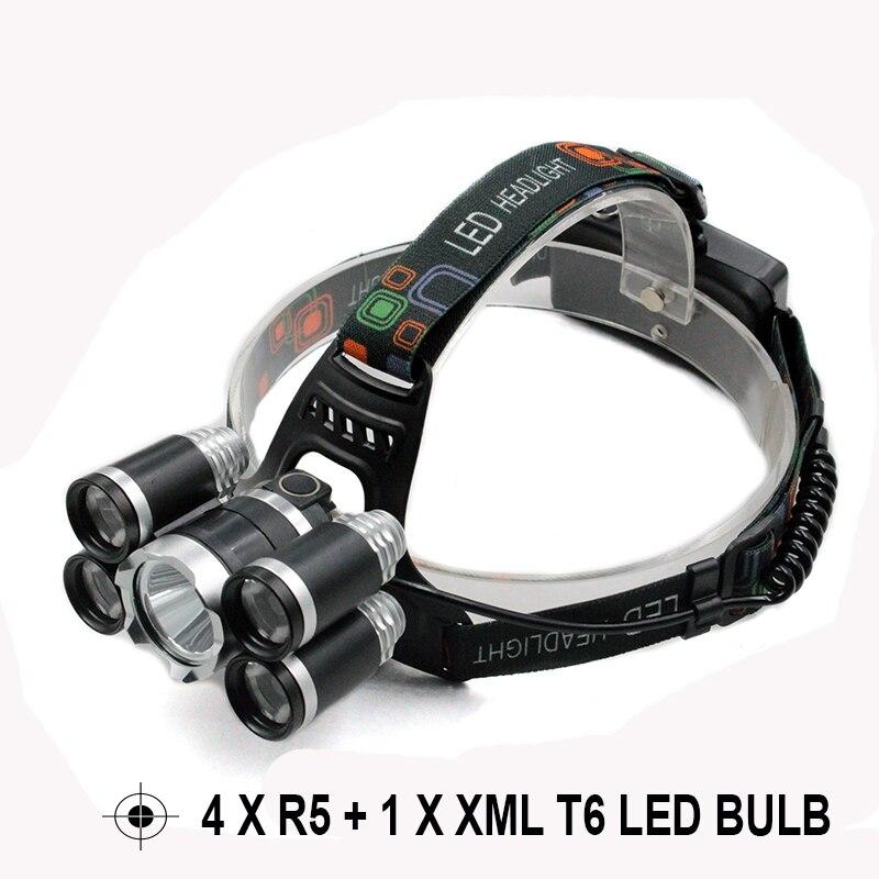 High Power Headlamp 10000 Lumen 4 x R5 Xml T6 Led Flashlight head light Waterproof Head