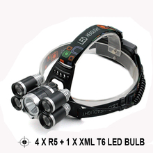 High Power Headlamp 10000 Lumen 4 x R5 + Xml T6 Led Flashlight head light Waterproof Head Lamp Head Band Light by 2 x 18650