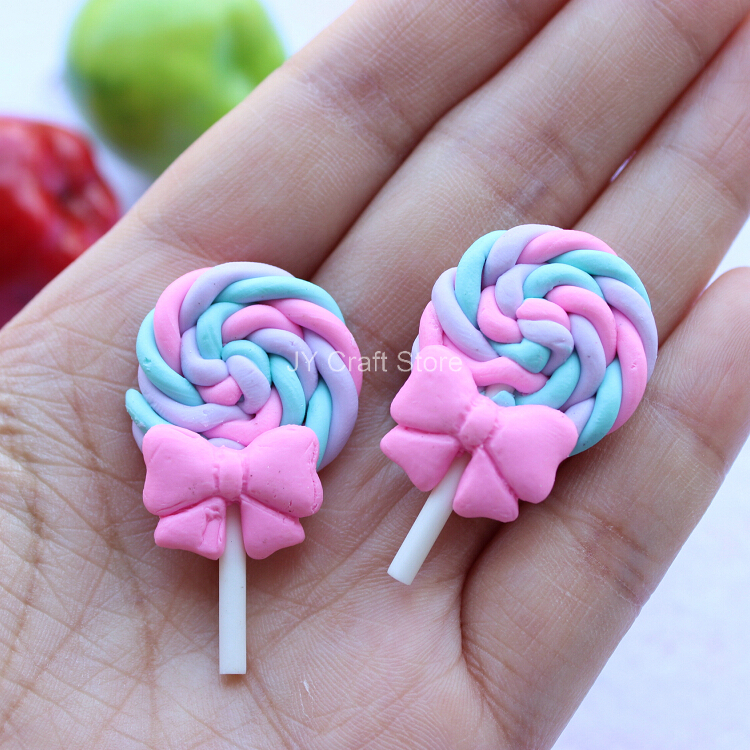 Set Of 20pcs Pastel Rainbow Candy Cabochon W/ Bow FlatBack Kawaii Fimo Cabochon Polymer Clay Cell Phone Deco Colorful Scrapbook