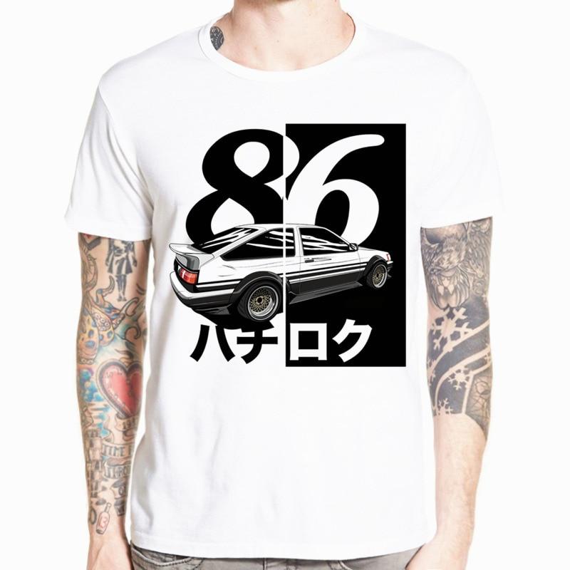الرجال طباعة الانجراف اليابانية أنيمي t-shirt س الرقبة قصيرة الأكمام الصيف عارضة AE86 الأولي d أوم تي شيرت HCP788