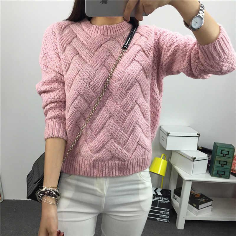 Olgitum 3D Для женщин свитер 2018 Весенняя розовая с круглым вырезом и длинными рукавами волна вязать пуловеры плед тянуть роковой мягкий зимний Костюмы SW438