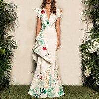 Плюс размеры 2019 для женщин летние Vinatge элегантные вечерние платья Повседневное макси белый трубы платье