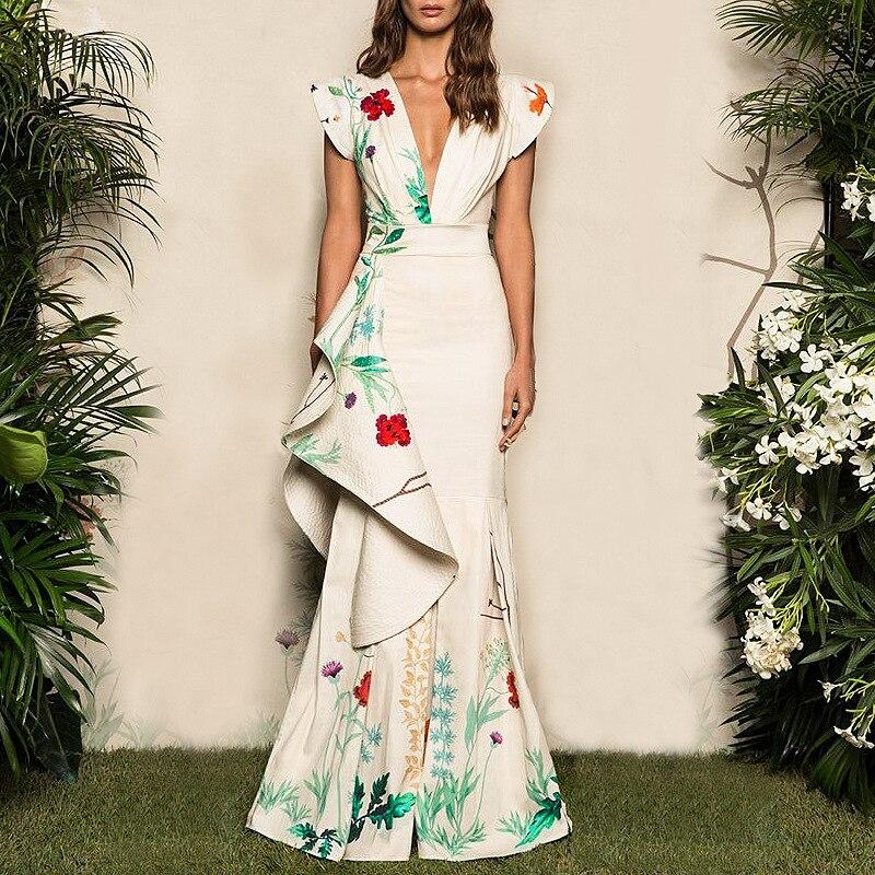 Plus Size 2019 Women Summer Vinatge Elegant Party Night Dresses Casual Maxi White Trumpet Dress